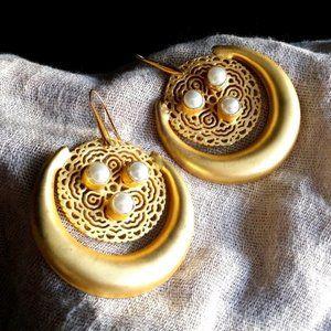 18K Gold-plated Earrings Genuine Pearls